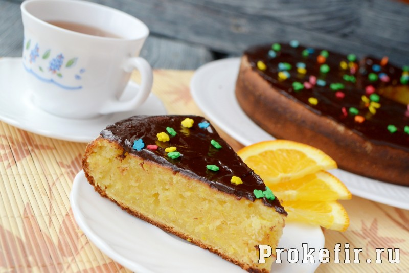 Апельсиновый пирог в духовке на кефире