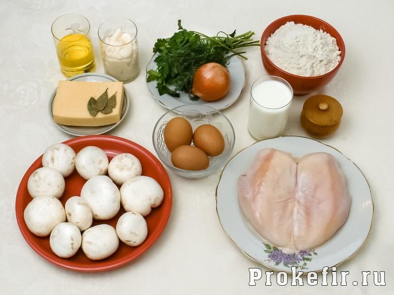Блинный пирог с курицей и грибами и сыром в духовке: фото 1