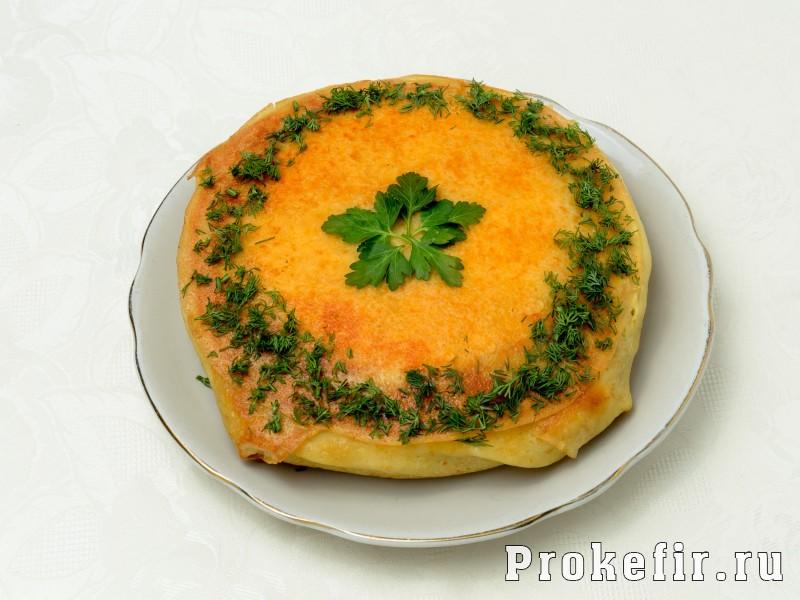 Блинный пирог с курицей и грибами и сыром в духовке: фото 8