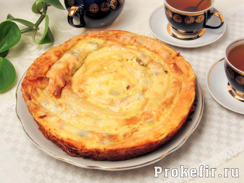 Блинный пирог с творогом улитка в духовке: фото 10