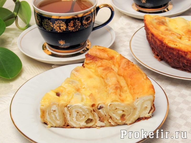 Блинный пирог с творогом улитка в духовке