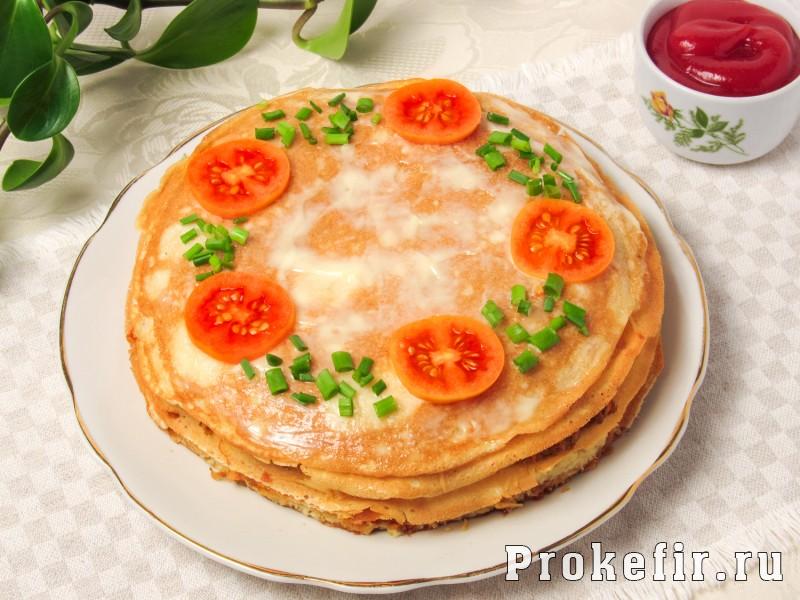 Блинный торт с курицей и грибами на кефире: фото 10