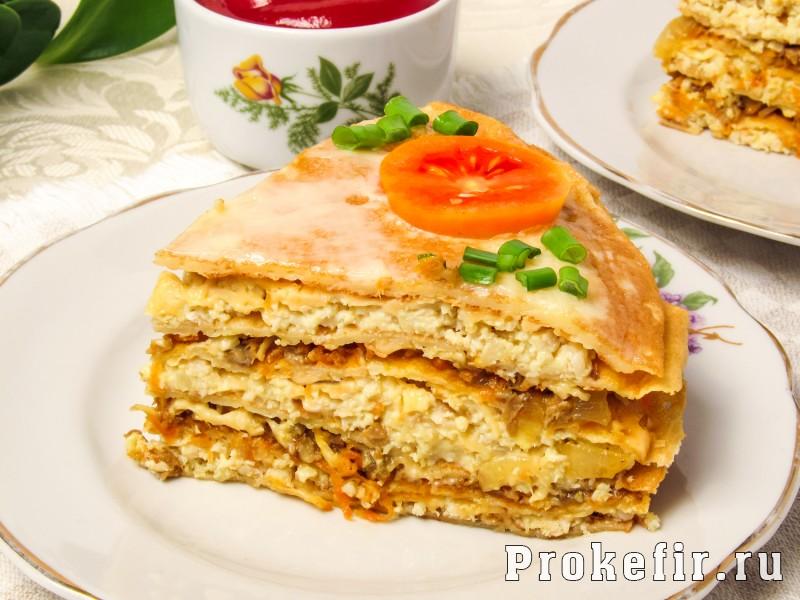 Блинный торт с курицей и грибами на кефире