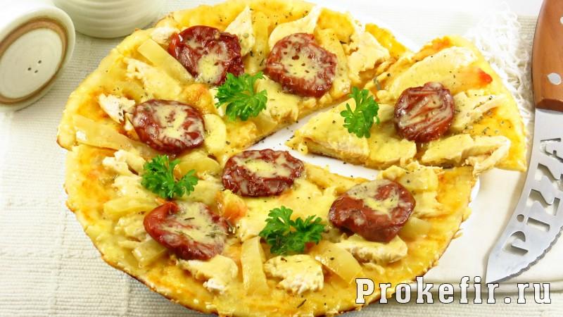 Быстрая пицца на сковороде за: фото 10 минут на кефире