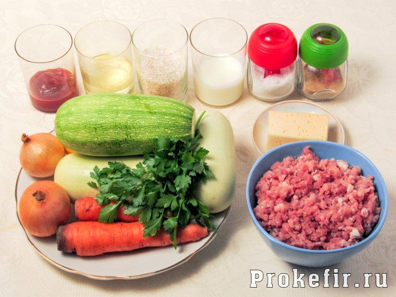 Кабачки тушеные с рисом и фаршем в томатно кефирной заливке: фото 1