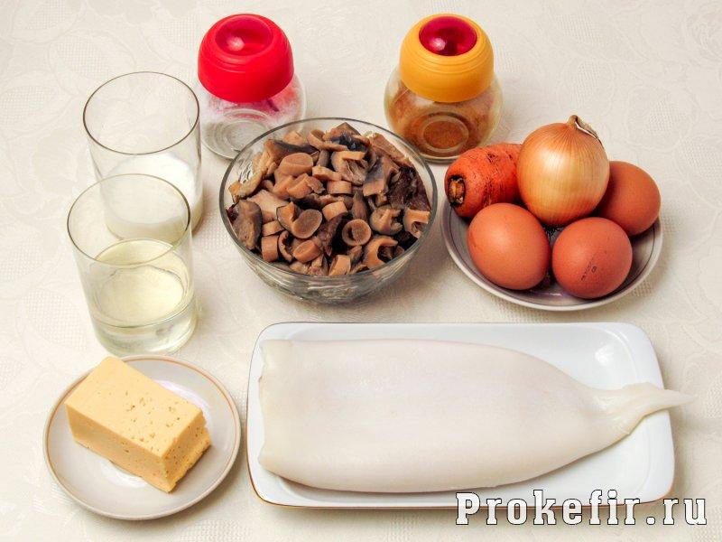 Калмары фаршированные грибами и сыром в духовке: фото 1