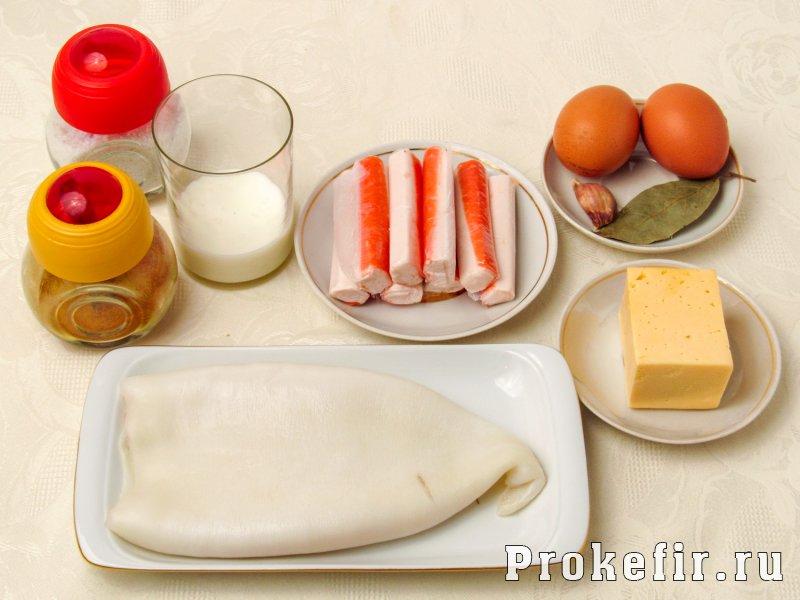 Калмары фаршированные крабовыми палочками и сыром и яйцом: фото 1