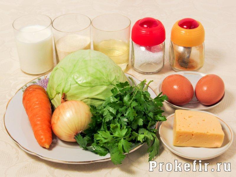 Капустная запеканка в мультиварке с манкой и сыром на кефире: фото 1