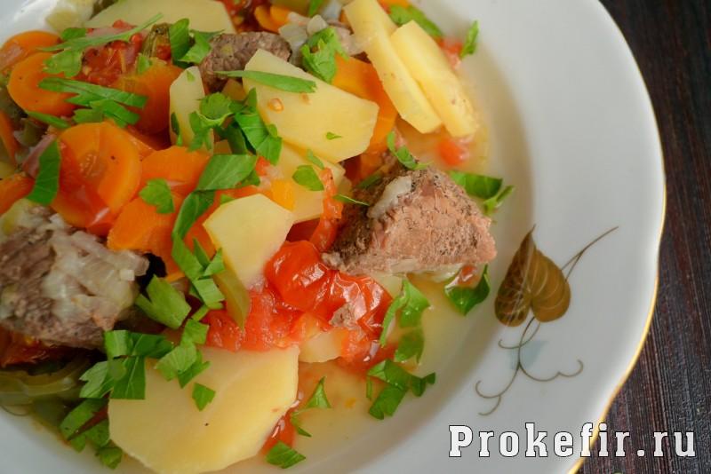 Хашлама из говядины с картофелем в кефирном маринаде