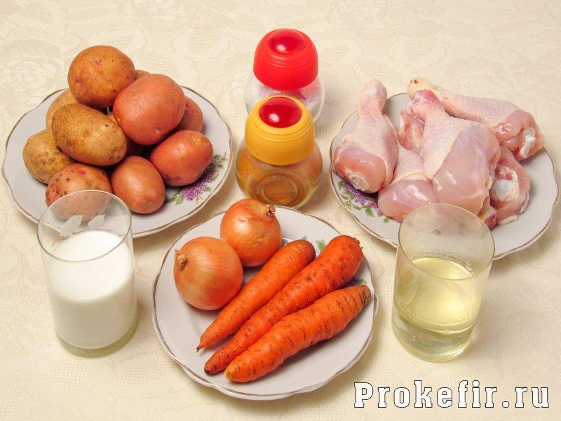 Куриные голени в мультиварке с картошкой в кефирной подливке: фото 1