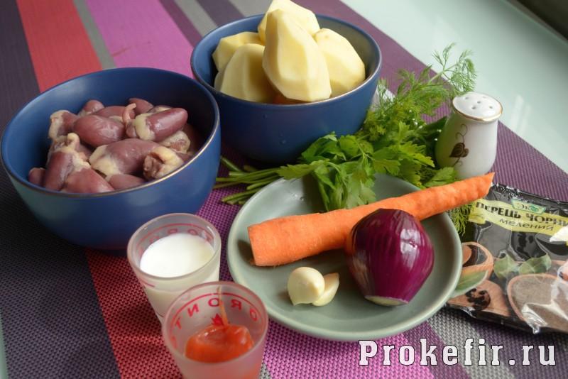 Куриные сердечки в мультиварке с картошкой: фото 1