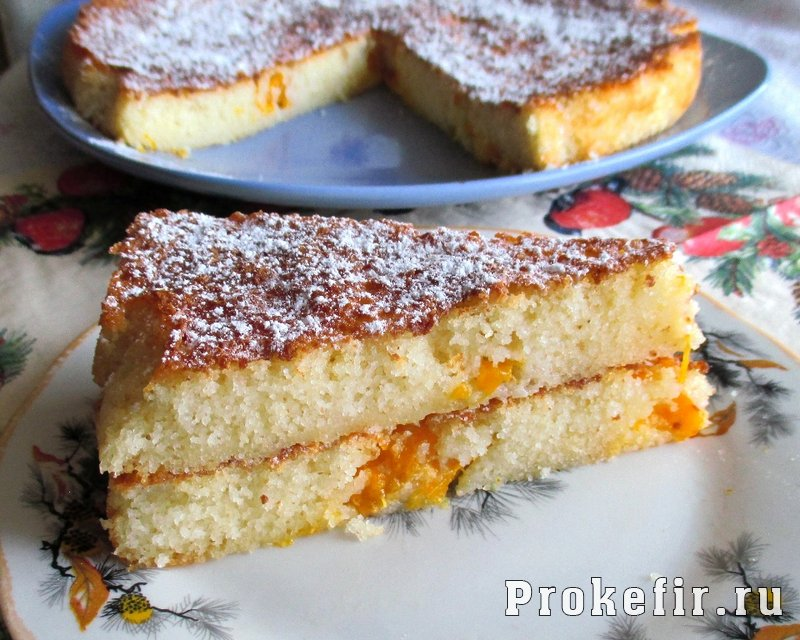 Манник на кефире с мандаринами: фото 16