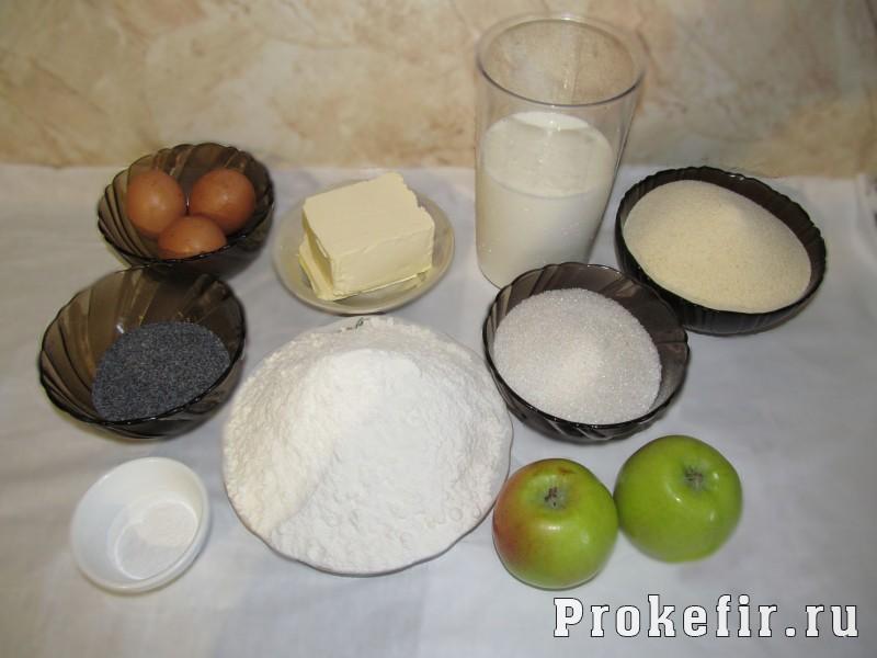 Манник с яблоком и маком на кефире: фото 1