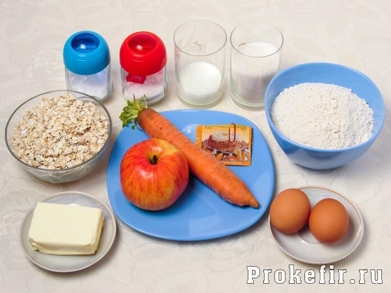 Морковное печенье с овсяными хлопями без муки с яблоком на кефире: фото 1