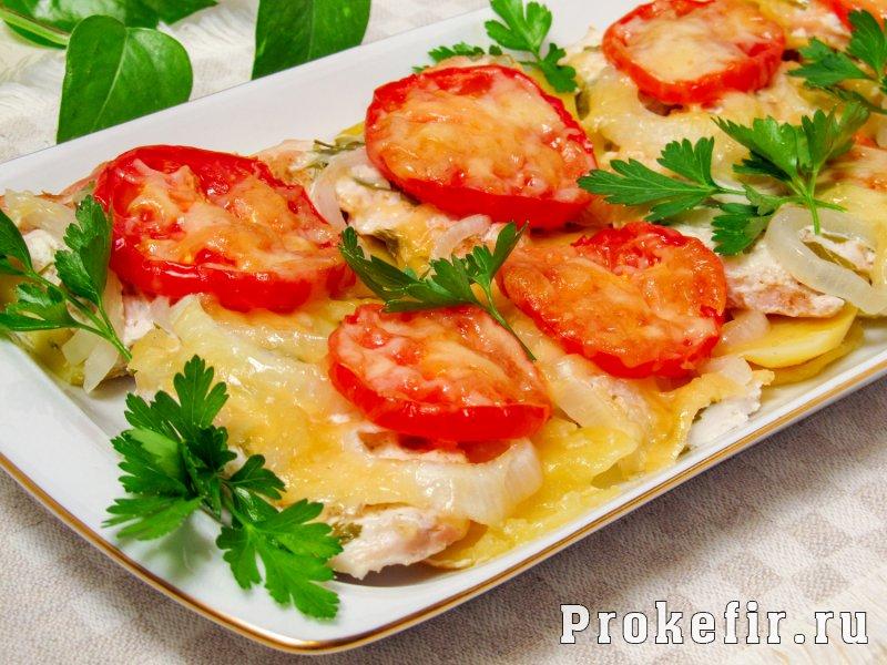 Мясо по франтсузски из курицы с картошкой в духовке