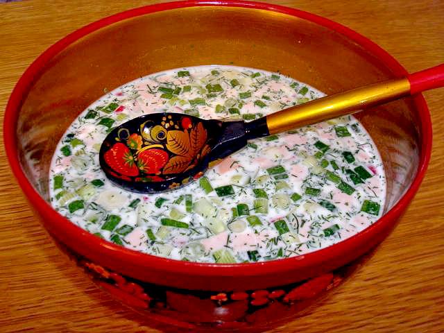окрошка на кефире с минералкой рецепт с фото