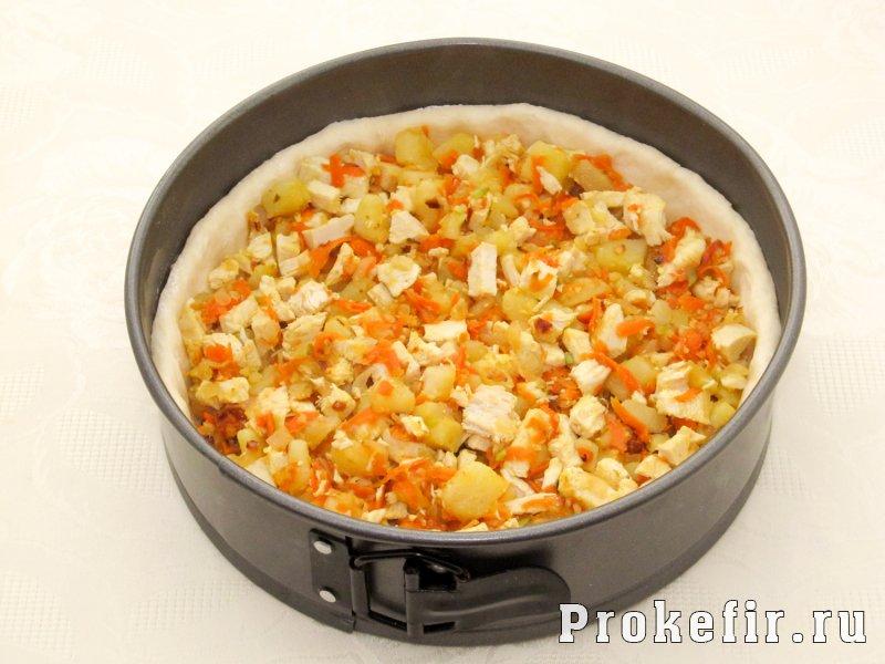 Открытый пирог с курицей и картошкой с кефирной заливкой: фото 8