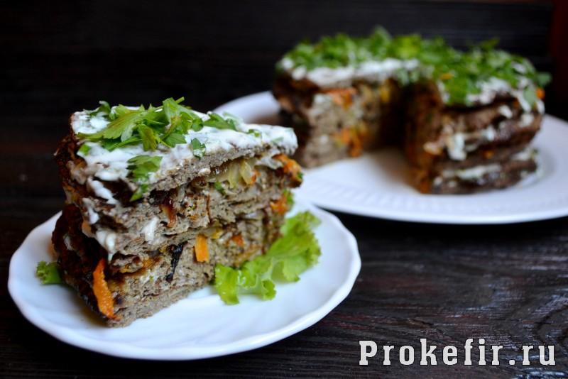 Печеночный торт из говяжьей печени рецепт с морковью и луком на кефире