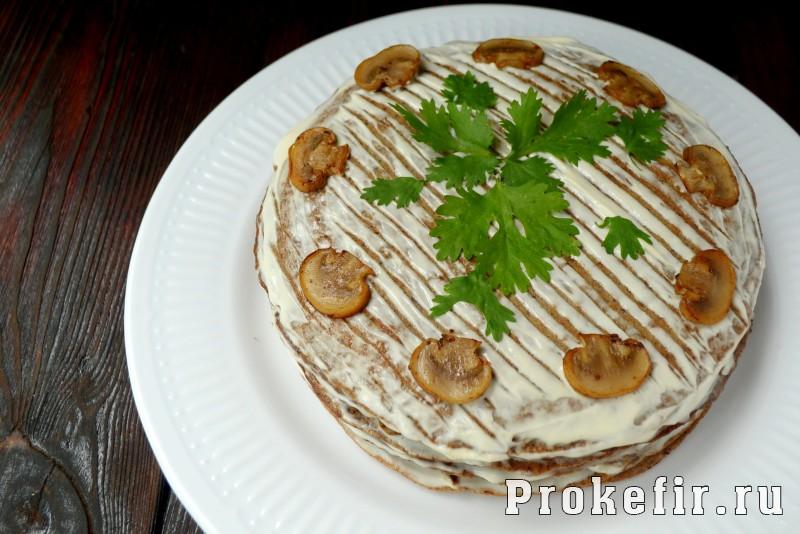 Печеночный торт рецепт из куриной печени с грибами на кефире: фото 15
