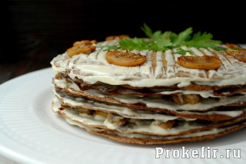 Печеночный торт рецепт из куриной печени с грибами на кефире