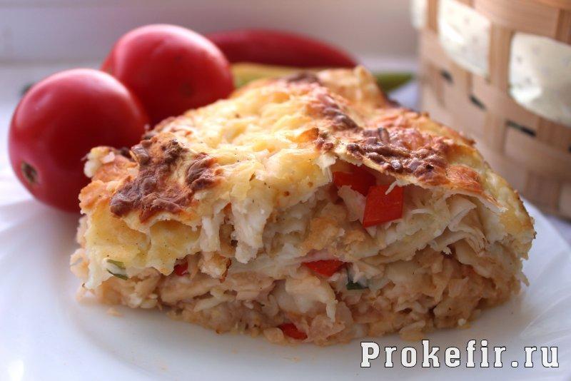 Пирог из лаваша с капустой и сыром в духовке