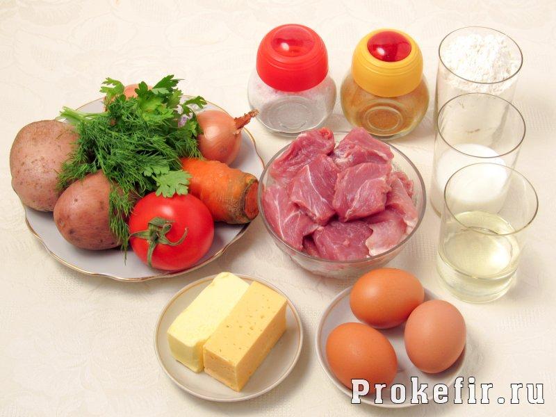 Пирог с фаршем и картошкой в духовке на кефире: фото 1