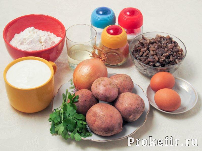 Пирог с картошкой и грибами в духовке без дрожжей на кефире: фото 1