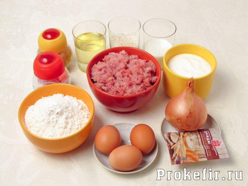 Пирожки с мясом и рисом в духовке на кефире: фото 1