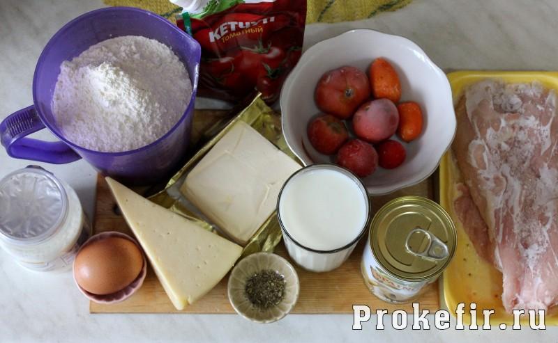Пицца с курицей и помидорами без дрожжей: фото 1