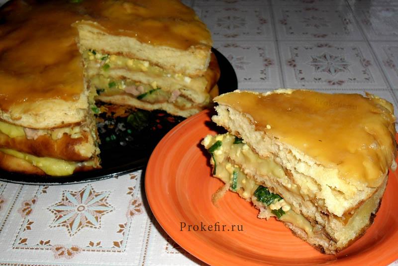 Рыбный закусочный торт на кефире