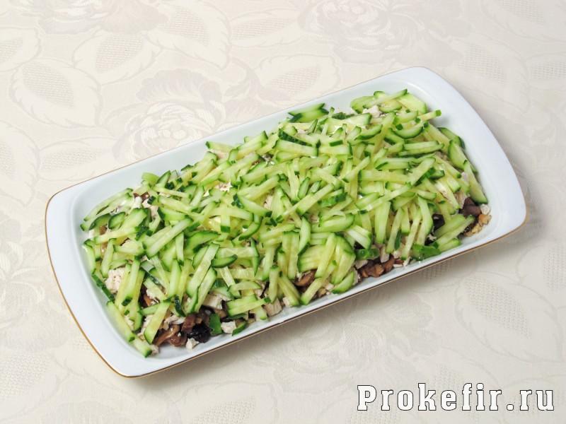 Салат березка с курицей и грибами и черносливом и соусом на кефире: фото 10