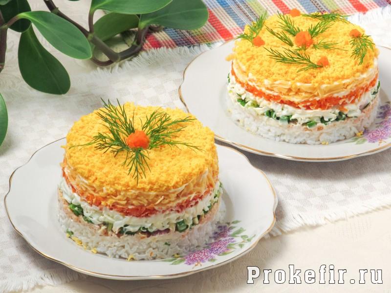 салат мимоза с рыбои и рисом рецепт