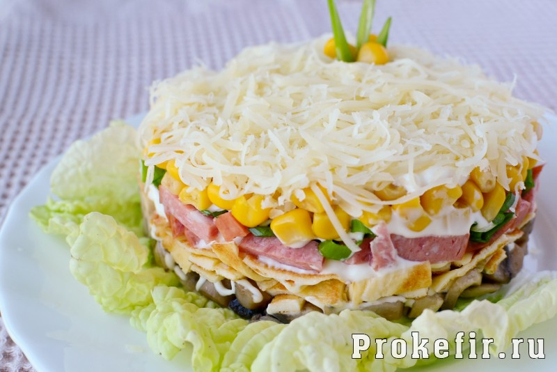 салат из яичных блинчиков рецепт