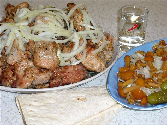 Шашлык из свинины на кефире с луком