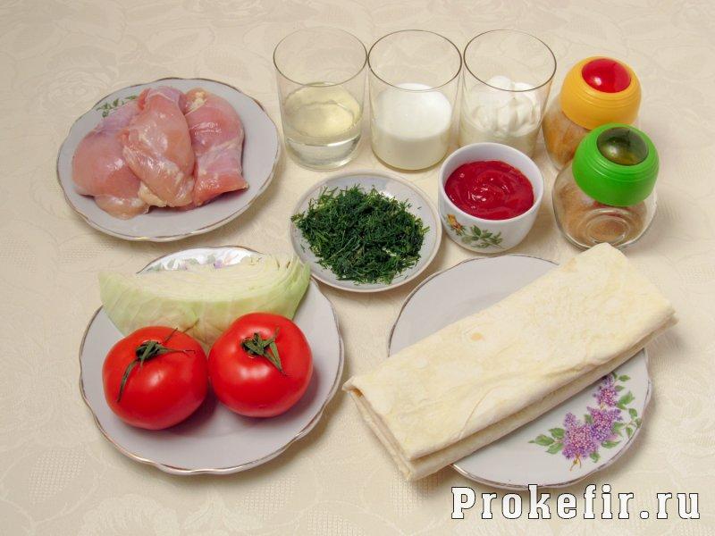 Шаурма рецепт с курицей в кефирном соусе: фото 1