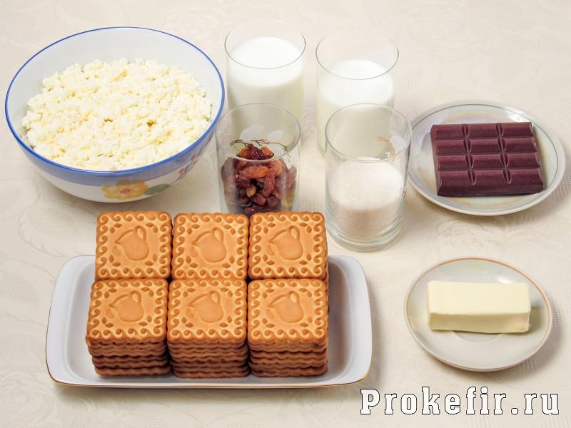 Торт без выпечки из печеня и творога с кефиром: фото 1