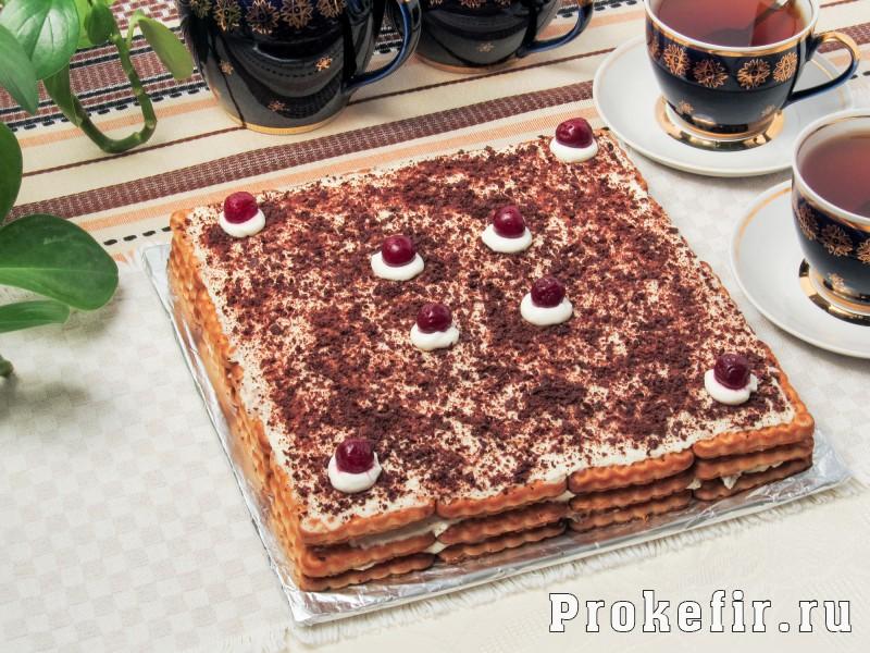 Торт без выпечки из печеня и творога с кефиром