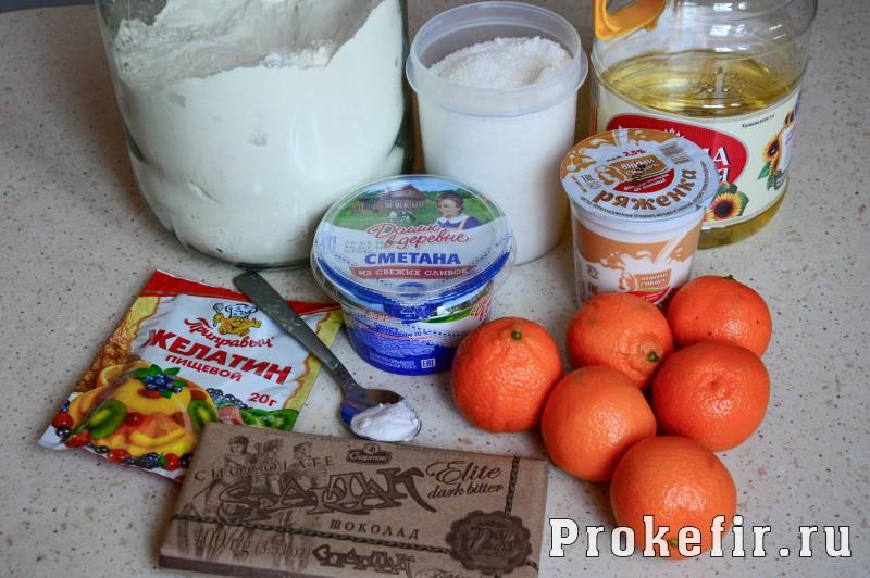 Торт из бисквита и желе на кефире с мандаринами: фото 1