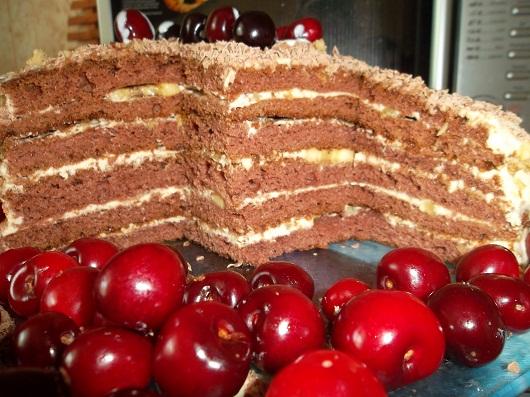 Кусочек торта на кефире с какао, орехом, кремом, черешней, шоколадом