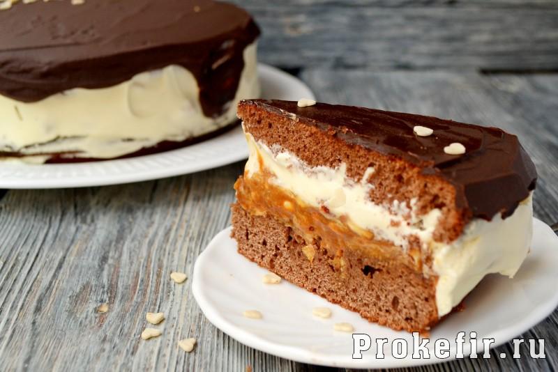 Торт сныкерс с коржами на кефире в духовке: фото 17