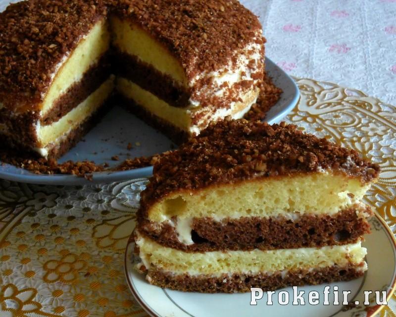 Торт со сметанным кремом на кефире