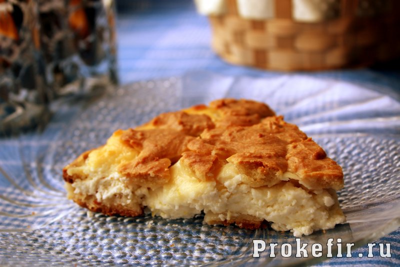 Творожно лимонный пирог на кефире